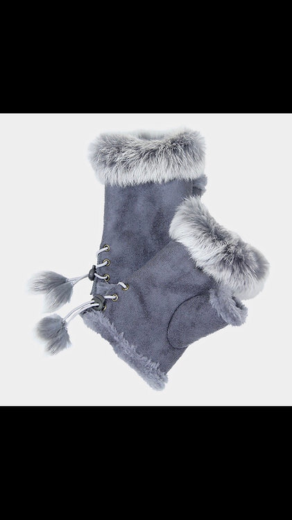 Solid Fur Fingerless Gloves - Gray