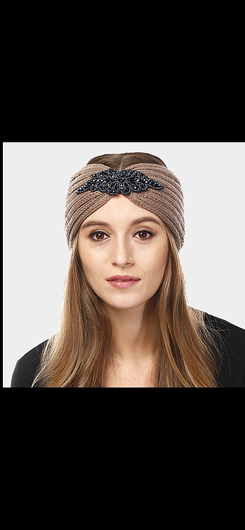 Embellished Knit Headwarmer - Taupe