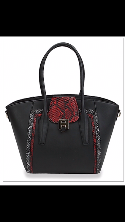 Snake Print Flap Handbag - Black