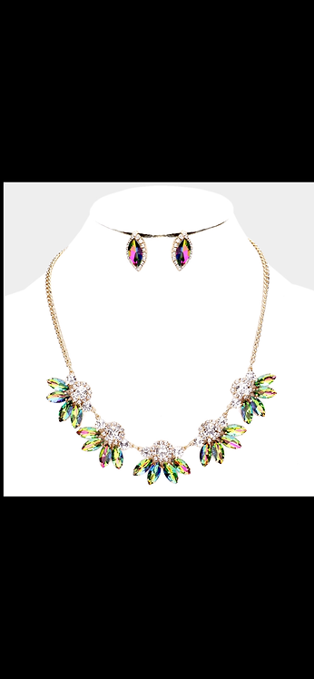 Resin Bling Necklace - Green AB