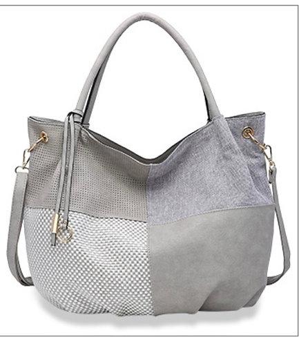 Gray Textured Hobo Handbag