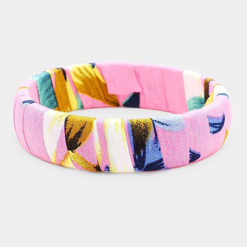 Tropical Wrap Material Bangle - Pink