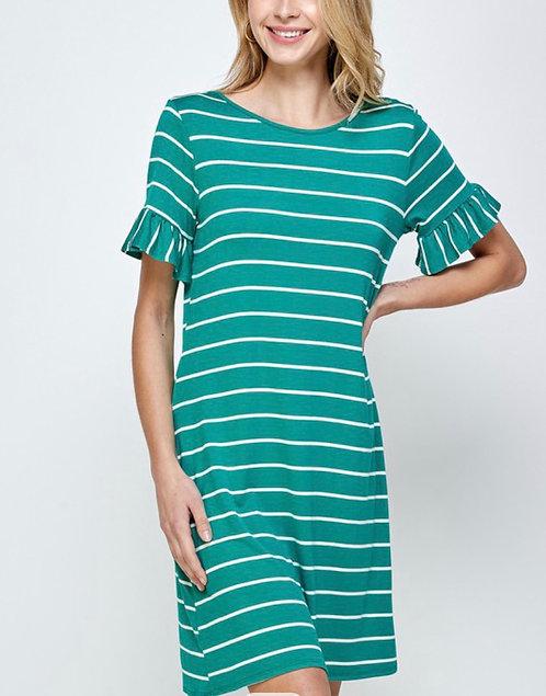 Stripe Day Dress - Teal