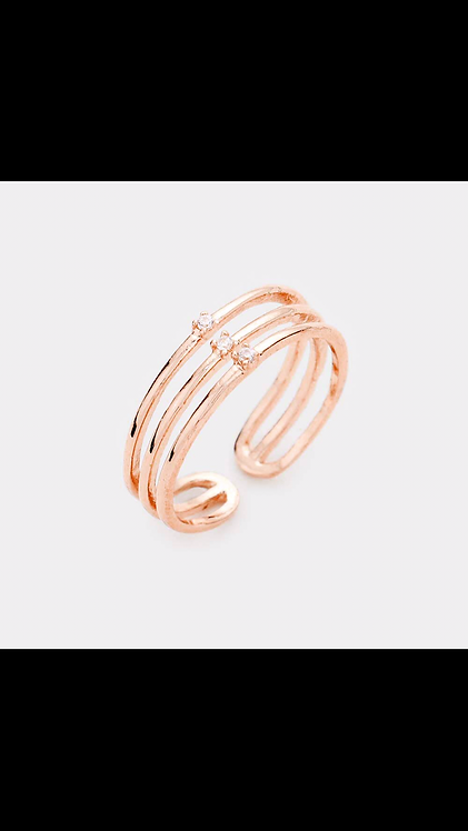 Delicate Metal Bling Ring - Rose Gold