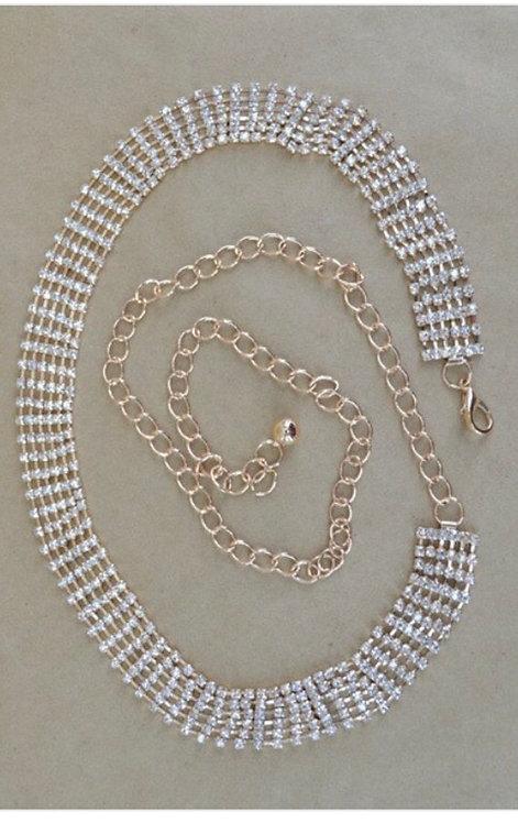 Rhinestone Chain Belt - Gold
