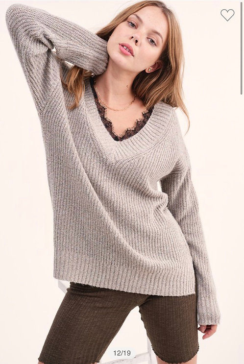 Taupe Lace Detail Sweater