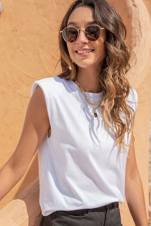 Exaggerated Shoulder Sleeveless - White