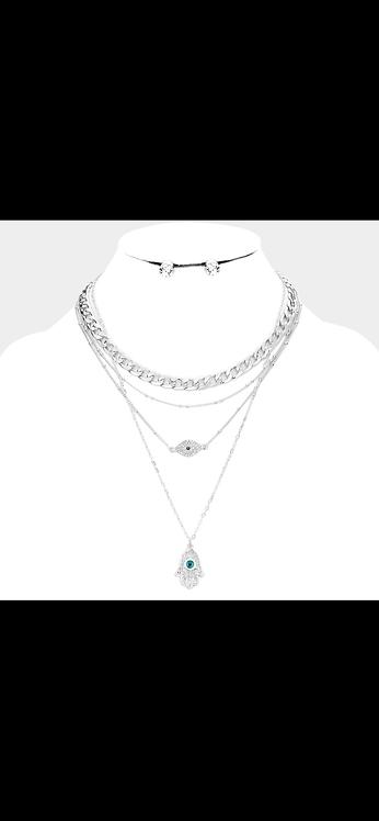 Evil Eye Hamsa Layered Necklace - Silver