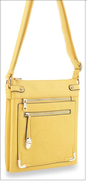 Zipper Front Messenger - Yellow