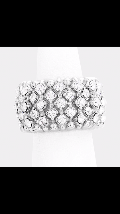 Silver Large Band Stretch Ring
