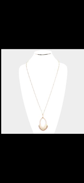 Bead Woven Long Necklace - Cream