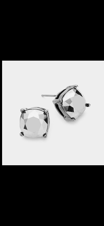 Stud Earrings - Gunmetal Silver