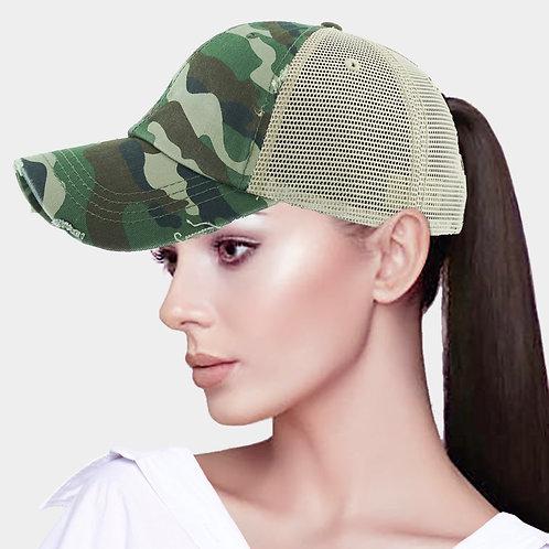 Ponytail Baseball Hat - Camo