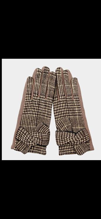 Houndstooth Tie Glove - Tan
