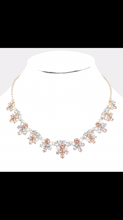 Gem Leaf Necklace - Rose Gold