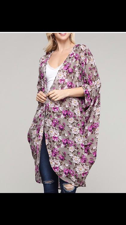 Purple Gray Floral Kimono