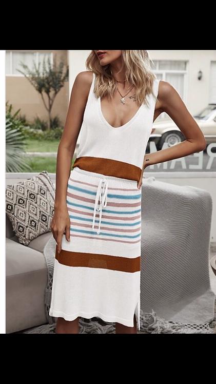 White Stripe Waist Tie Dress