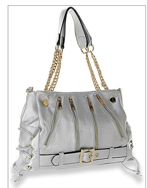 Silver & Gold Moto Style Handbag
