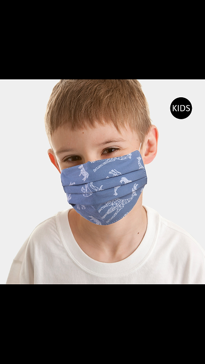 Kids Pleated Mask - Blue Animal