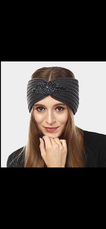 Embellished Knit Headwarmer - Charcoal