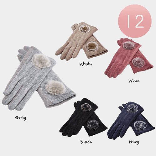 Flower Poof Gloves - Assorted