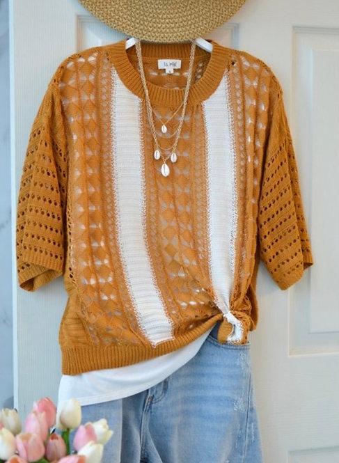 Short Sleeve Light Sweater - Rust