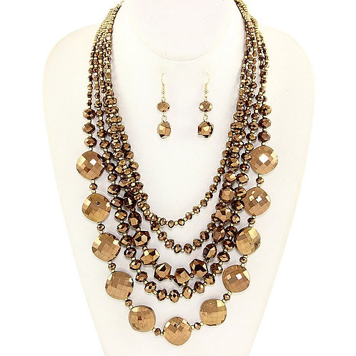 Cascading Glass Bead Necklace - Topaz