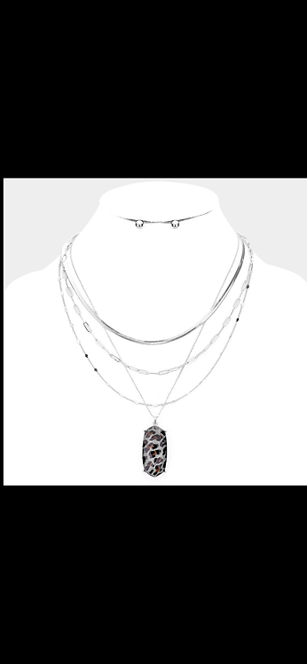 Leopard Layered Pendant Necklace - Silver