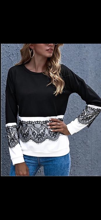 Black White Lace Trim Long Sleeve