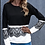Thumbnail: Black White Lace Trim Long Sleeve