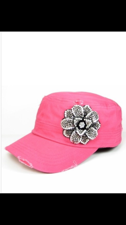 Bling Flower Cadet Hat - Fuchsia