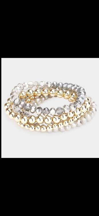 Beaded Bracelet Set - Gray
