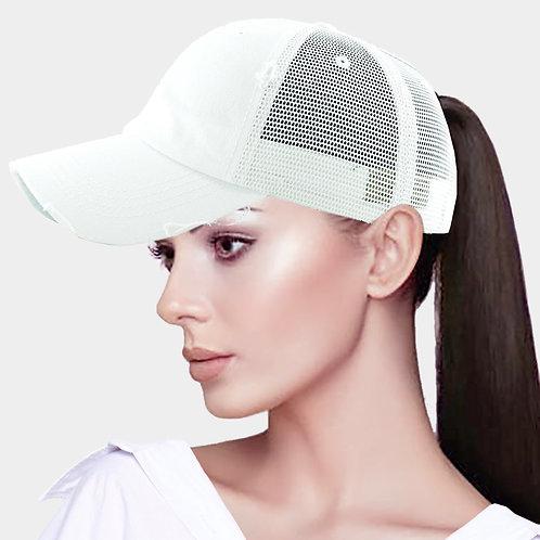 Ponytail Baseball Hat - White