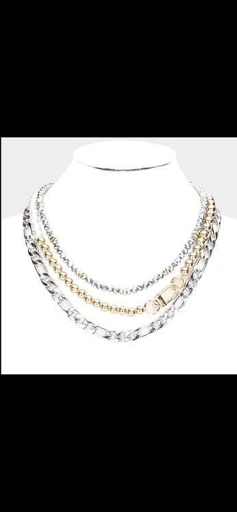 Triple Layered Metal Bead Necklace - Silver