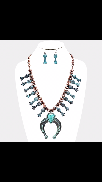 Turquoise Western Long Statement Necklace