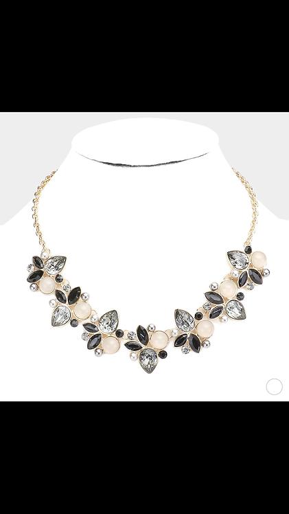 Large Gem Leaf Necklace - Black