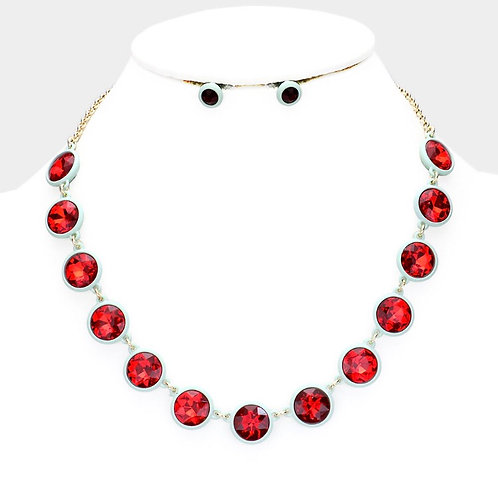 Glass Crystal Resin Necklace - Red