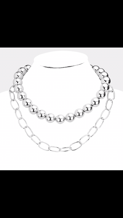Layered Ball Necklace - Silver