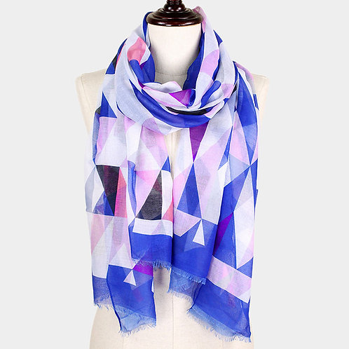 Geometric Pattern Scarf - Blue