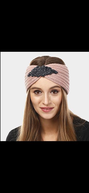 Embellished Knit Headwarmer - Light Pink