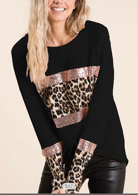 Leopard Rose Gold Sequin Shirt