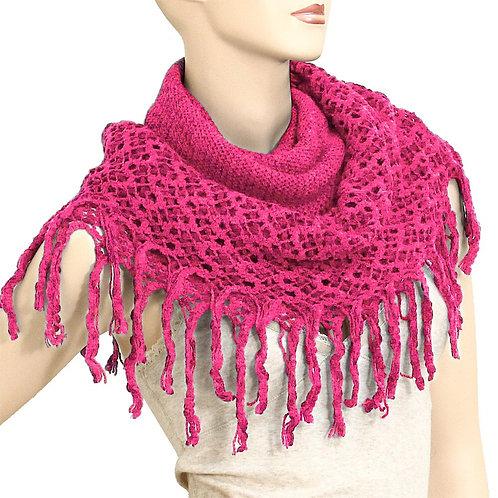 Fringe Knit Infinity Scarf - Fuchsia
