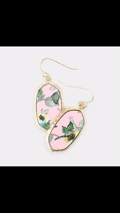 Flower Print Dangle - Pink