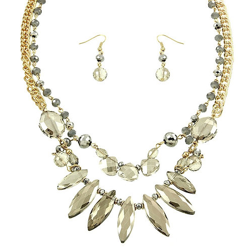 Layered Crystal Glass Necklace - Pewter