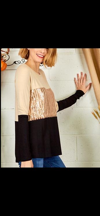 Sequin Colorblock Long Sleeve