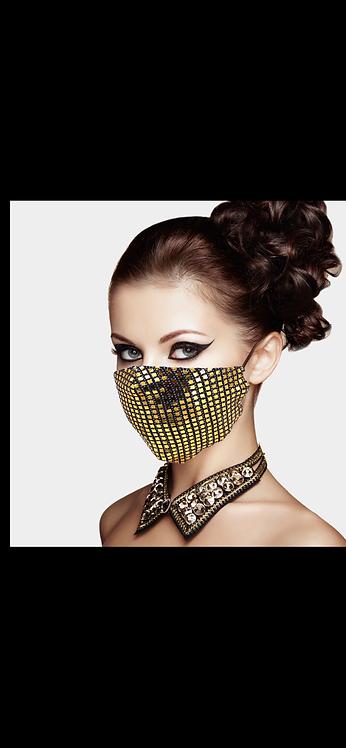 Disco Gem Adjustable Mask - Gold Black
