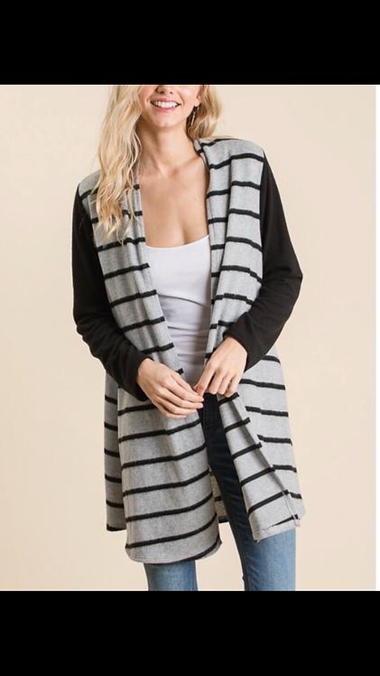 Gray Black Stripe Cardigan