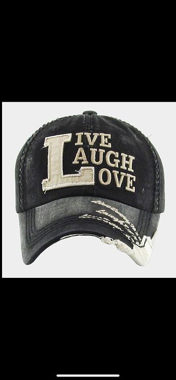 Live Laugh Love Baseball Hat - Black