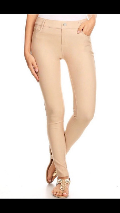 Faux Jean Leggings - Camel