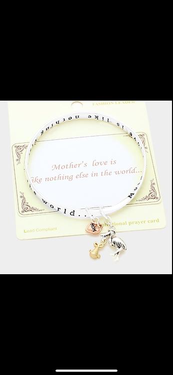 Mom Messaage Bangle Bracelet